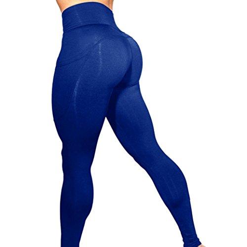 Gillberry Womens Pants,High Waist Compression Leggings -Velvety Super Soft Lightweight (Blue, XL) (Best Prenatal Yoga Youtube)