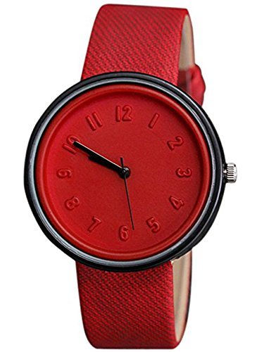 Womens Quartz Watches,COOKI Unique Analog Fashion Clearance Lady Watches Female watches on Sale Casual Number Watches for Women,Round Dial Case Comfortable Canvas Watch-H11 (Red)