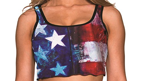 BodyZone Apparel Women's USA Flag Crop Top and Matching Thong. One Size.