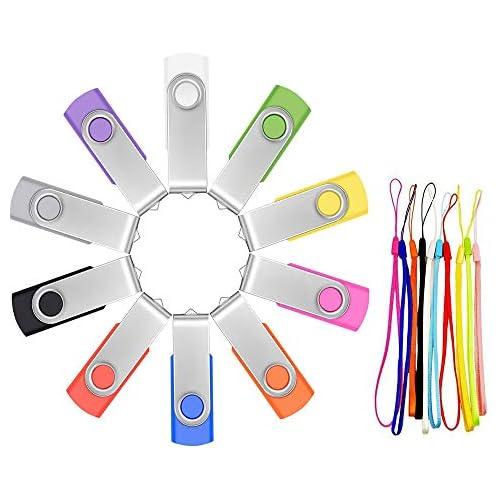 Pack of 10 Bulk USB Flash Drives 2GB - Mixed Color USB 2.0 Memory Stick Pen Drive - FEBNISCTE Swivel USB 2.0 Thumb Drive Pendrive