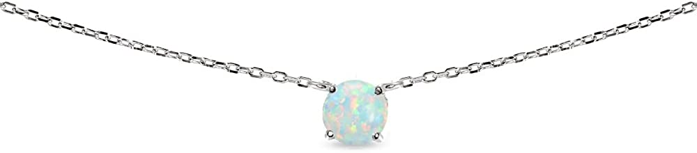 LOVVE Sterling Silver Round-cut Created Opal Solitaire Choker Necklace for Teens or Women