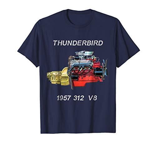 1957 312 V8 T-Bird Engine V8 Muscle Car Retro Logo T-Shirt ()