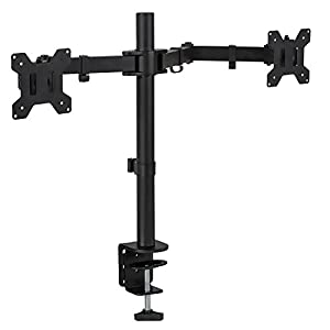 Mount-It! Dual Monitor Mount Desk Stand for LCD LED Computer Displays Two Articulating Arms Clamp Desk Installation Fits up to 27 Inch Screens Heavy-Duty VESA 75 and 100 (Dual Monitor)