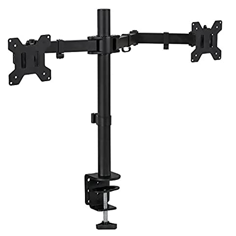 Mount-It! Dual Monitor Mount Desk Stand for LCD LED Computer Displays Two Articulating Arms Clamp Desk Installation Fits up to 27 Inch Screens Heavy-Duty VESA 75 and 100 (Dual (Dual Mount Monitor Arm)