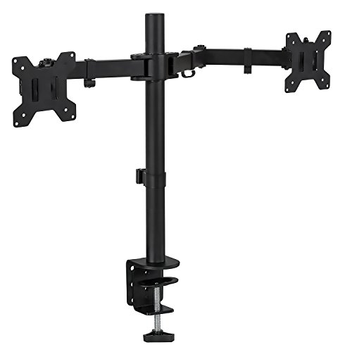 Mount-It! Dual Monitor Desk Stand Mount for LCD LED Computer Displays Two Articulating Arms Clamp Desk Installation Fits (Computer Desk With Monitor Mount)
