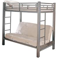 Home Source Industries 13017 Bunk Bed with Convertible Sofa to Full Sized Bed, Silver