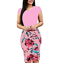 Dimanul Dress For Women Sexy Fashion Plus Size O Neck Short Sleeve Splicing Flower Printing Buttock Dress Pink