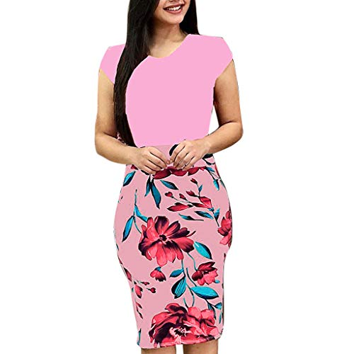 (Women's Striped Floral Print 3/4 Sleeve Tie Waist Long Maxi Dress with)