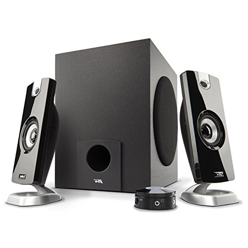 Flat Panel Stereo Speaker - Cyber Acoustics 2.1 Subwoofer Speaker System with 18W of Power – Great for Music, Movies, Gaming, and Multimedia Computer Laptops (CA-3090)