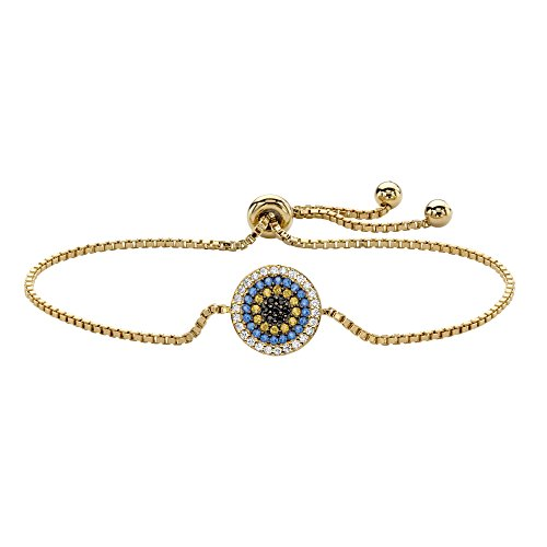 Lux 14K Yellow Gold Over Sterling Silver Simulated Gemstone and Cubic Zirconia, Slider Bolo Bracelet (12mm), 10 inch Adjustable