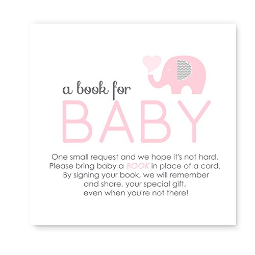 Pink Elephant Bring a Book for Baby Shower Invitation Insert Card (25pc.) (Baby Shower Invitations Books)