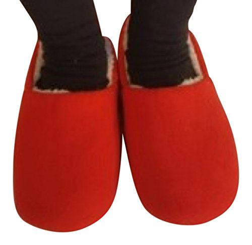 Snookiz Microwave Heated Furry Red Womens Slippers (Microwave Heated Slippers)