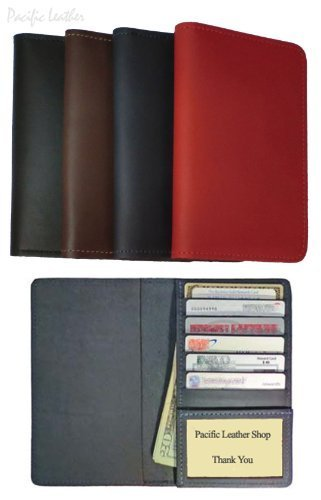 Cowhide Leather Top Stub Checkbook Cover Wallet with Credit Card and ID slots for Top Stub Checks - BROWN