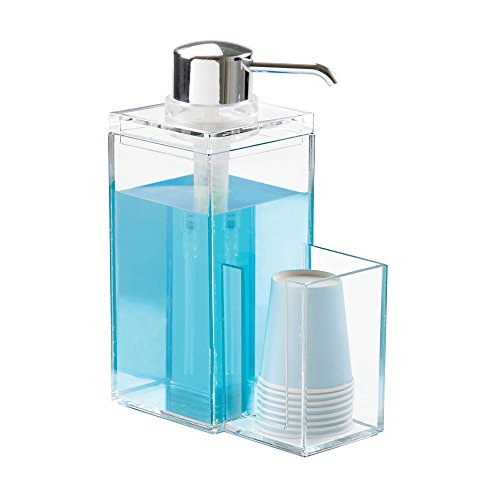 mDesign Mouthwash Dispenser Pump Caddy for Bathroom Vanity - Clear/Chrome