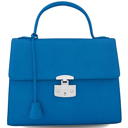3.75' Blue Leather - NINA NERI Genuine Leather Handbags For Women Designer Tote Ladies Purse (Blue)