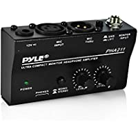 Pyle Compact Stereo Headphone Amplifier W/ DC 12V Power Adapter for Studio, Stage | Distortion & Noise-Free | Features +48V Phantom Power Pass, Dual Headphone, Microphone & Mic Thru Inputs (PHA211)