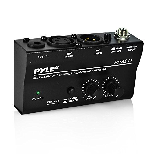 Studio Headphone Amps (Pyle Compact Stereo Headphone Amplifier W/ DC 12V Power Adapter for Studio, Stage | Distortion & Noise-Free | Features +48V Phantom Power Pass, Dual Headphone, Microphone & Mic Thru Inputs (PHA211))