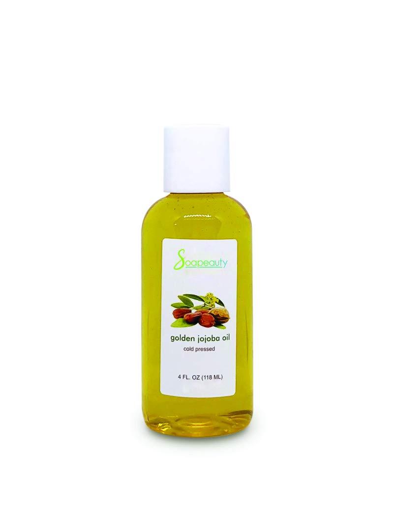 JOJOBA OIL Organic Cold Pressed Unrefined | 100% Pure Natural Golden Jojoba Oil | Carrier for Essential Oils, Moisturizer for Skin, Face & Hair, Massage, Soap Making | Sizes 4 OZ
