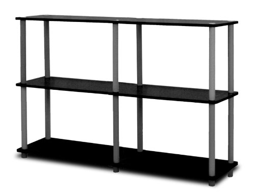 (Furinno 99130BK/GY Turn-N-Tube 3-Tier Double Size Storage Display Rack, Black/Grey)