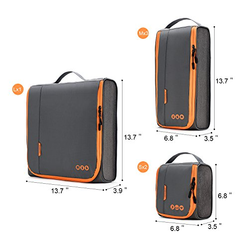 BAGSMART 6 Sets Packing Cubes 3 Sizes Portable Travel Luggage Organizer for Carry-on Accessories by BAGSMART (Image #7)