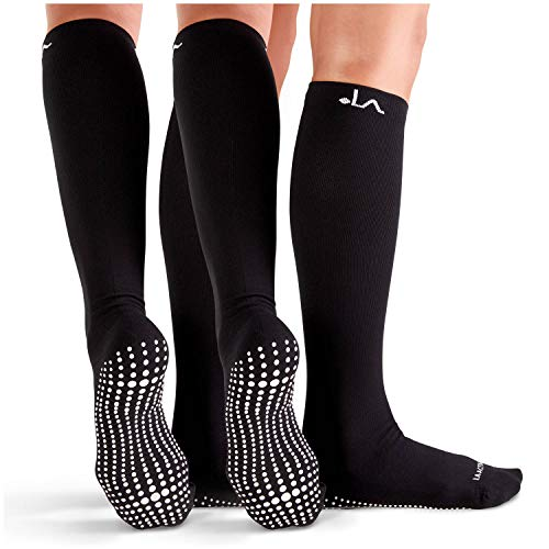 LA Active Non-Slip Compression Socks 15-20mmHg Knee-High Anti Skid Stockings for Women & Men - 2 Pairs (Noire Black & Bright White x2, L/XL) (Grip Socks Knee High)