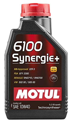 Motul 102781 6100 Synergie+ Technosynthese Engine Oil 10W40-1-Liter, 33.81 Fluid_Ounces