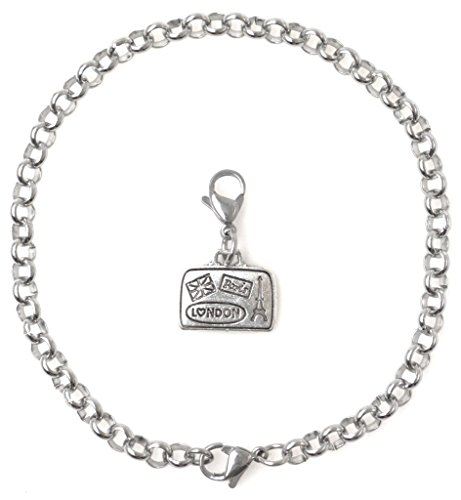 "Price comparison product image 2 PC SET: Adjustable 8.5"" Stainless Steel Starter Charm Bracelet and Clip on Charm Paris Suitcase 2PB 39H"