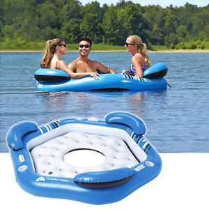 Ozark Rapid Rider III Persons Inflatable Floating Oasis Lake Pool Island Beach by scoutBAR