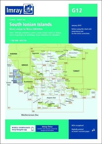 Imray chart G12: South Ionian Islands Nisos Levkas to Nisos Zakinthos (G Charts)