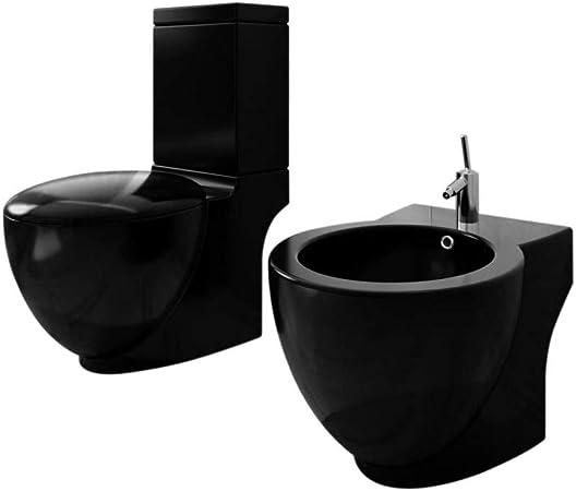 Set de Inodoro y bidé de pie cerámica Negro: Amazon.es: Hogar