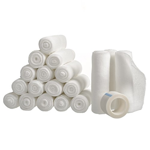 "12 Gauze Bandage Rolls with Medical Tape, Rolled Gauze Stretch Bandage, 4"" x 4 Yards Stretched, FDA Approved, Medical Grade Sterile First Aid Wound Care, Dressing, by California Basics"