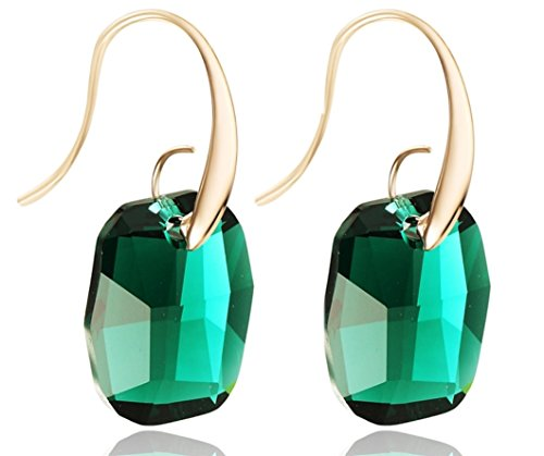 Crystal-Drop-Dangle-Earrings-Swarovski-Element-Rose-Gold-Tone-Emerald-Green
