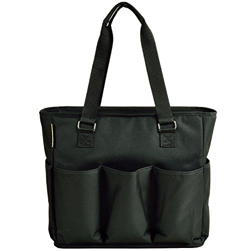 (Picnic at Ascot 541-BLK Large Insulated Multi Pocketed Travel Bag With 6 Exterior Pockets, Black)