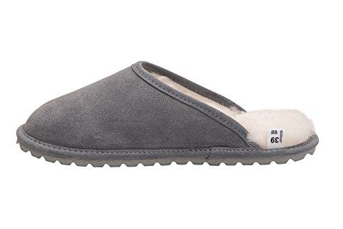 Pantofole Da Donna In Pelle Di Pecora Rusnak Scarpe Da Casa / Caldo Fodera In Lana D68p Grigio / Bianco