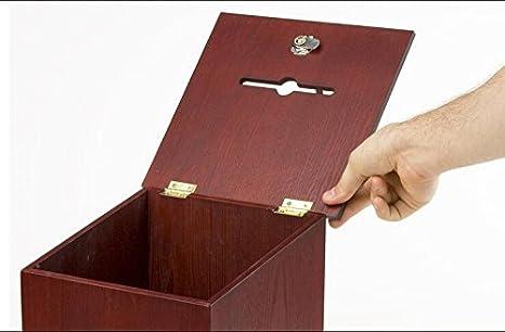 "Side Pocket 10.1/"" x 13.9/"" x 9.5/"" Wooden Ballot Box w// Sign Holder Pen /& Lock,"