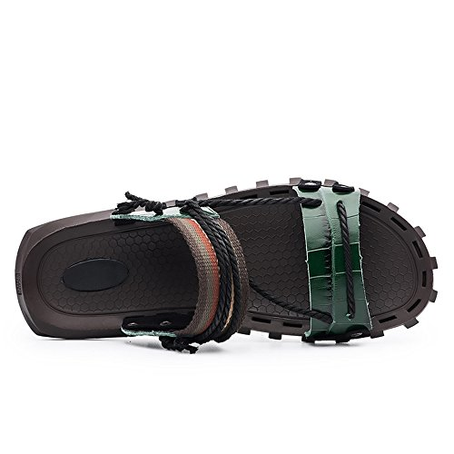 Casual Slip Leather Toe Beach Flat Green Soft Shoes for Sandals Hemp Non Ruiyue Genuine Slippers,Open Men Rope vUppnY