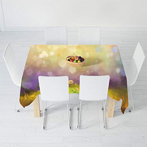 TecBillion No Fading Tablecloth,Watercolor Flower Home Decor,for Table Outdoor Picnic Holiday Dinner,48 X 24 Inch,Pastel Floral Lawn and Hazy Shallow Depth