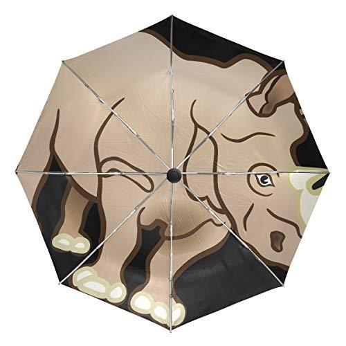 Cute Rhinoceros Pattern Lightweight Umbrella Windproof, Reinforced Canopy, Ergonomic Handle, Auto Open for Men Women