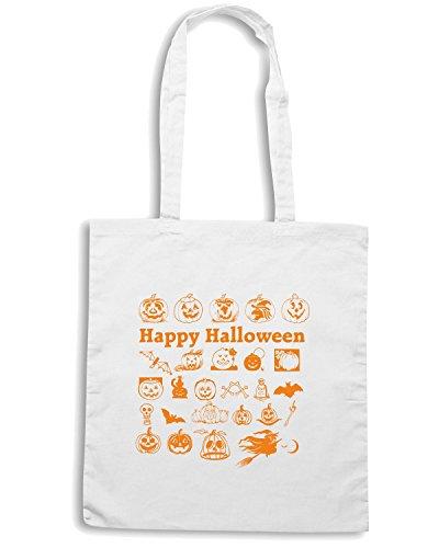 T-Shirtshock - Bolsa para la compra T0353 HAPPY HALLOWEEN festivita Blanco