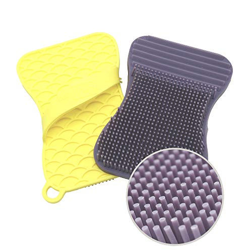 (Silicone Sponge and Scrubber for Kitchen and Bathroom Cleaning – Eco-Friendly, Antibacterial, Heat Resistant, Odor and Mold Free | 2 Pack Violet/Yellow)