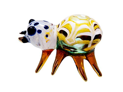 (Sansukjai White Yellow Spider Murano Figurines Animals Hand Blown Glass Art Gold Trim Collectible Gift Decorate )