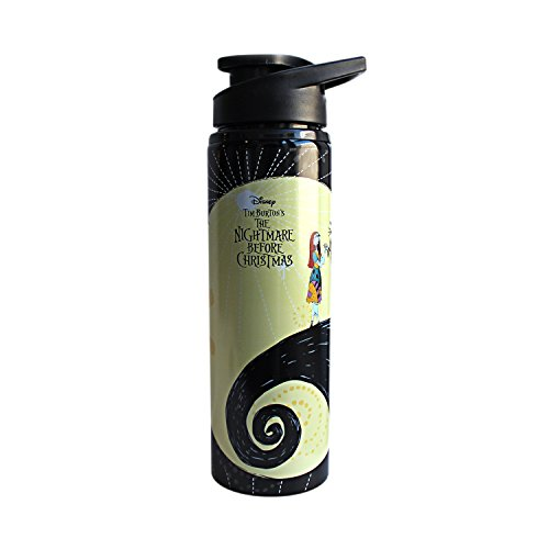 Silver Buffalo NB9489ST Disney Nightmare Before Christmas Jack and Sally Over the Moon Stainless Steel Water Bottle, (Jack Skellington And Sally)