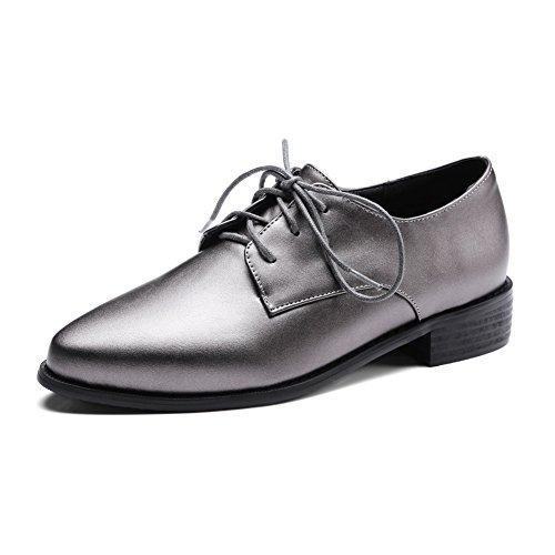 hot BalaMasa Womens Lace-Up Square Heels Pointed-Toe Urethane Oxfords Shoes on sale