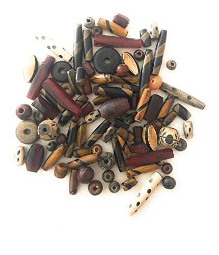 60-70 Pieces of Mix Horn Beads, Brown, Beige, Black, Size 6mm-30mm, Variety of Shapes, Jewelry Making Styles, Etched,