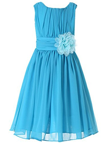 Bow Dream Little Girls Elegant Ruffle Chiffon Summer Flowers Girls Dresses Junior Bridesmaids Aqua - Dress Aqua Juniors
