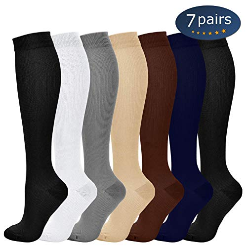 (Ritta Compression Socks (2/3/4/7 Pairs),15-20 mmHg Best Athletic and Medical for Men and Women,Socks for Running, Flight, Travel, Athletic, Edema,Pregnancy,Relieve Pain (Assorted 3-7 Pairs, SM))