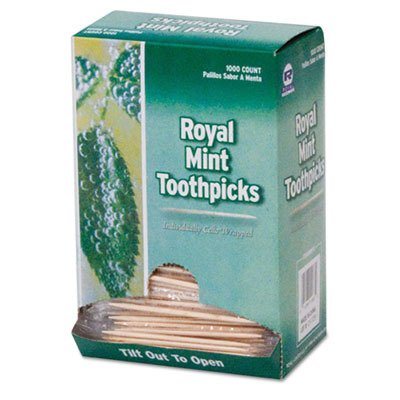 (Royal RM115 Mint Cello-Wrapped Wood Toothpicks, 2 1/2