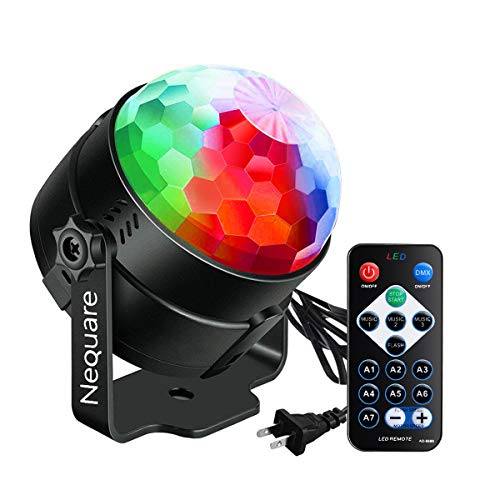 Party Lights Sound Activated Disco Ball Strobe Light 7 Lighting Color Disco Lights with Remote -