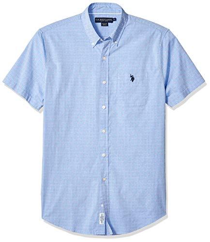 (U.S. Polo Assn. Men's Short Sleeve Swiss Dot Oxford Shirt, Wedding Blue, L)