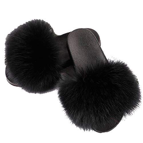 Valpeak House Slippers for Women Open Toe Fluffy Real Fur Slippers Girls Indoor Sliders Fur Fox (Black, 9-10)